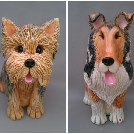 Yorkie and Collie custom clay dog sculptures handmade by Pence Pets